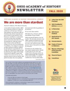Cover of the Fall 2020 newsletter