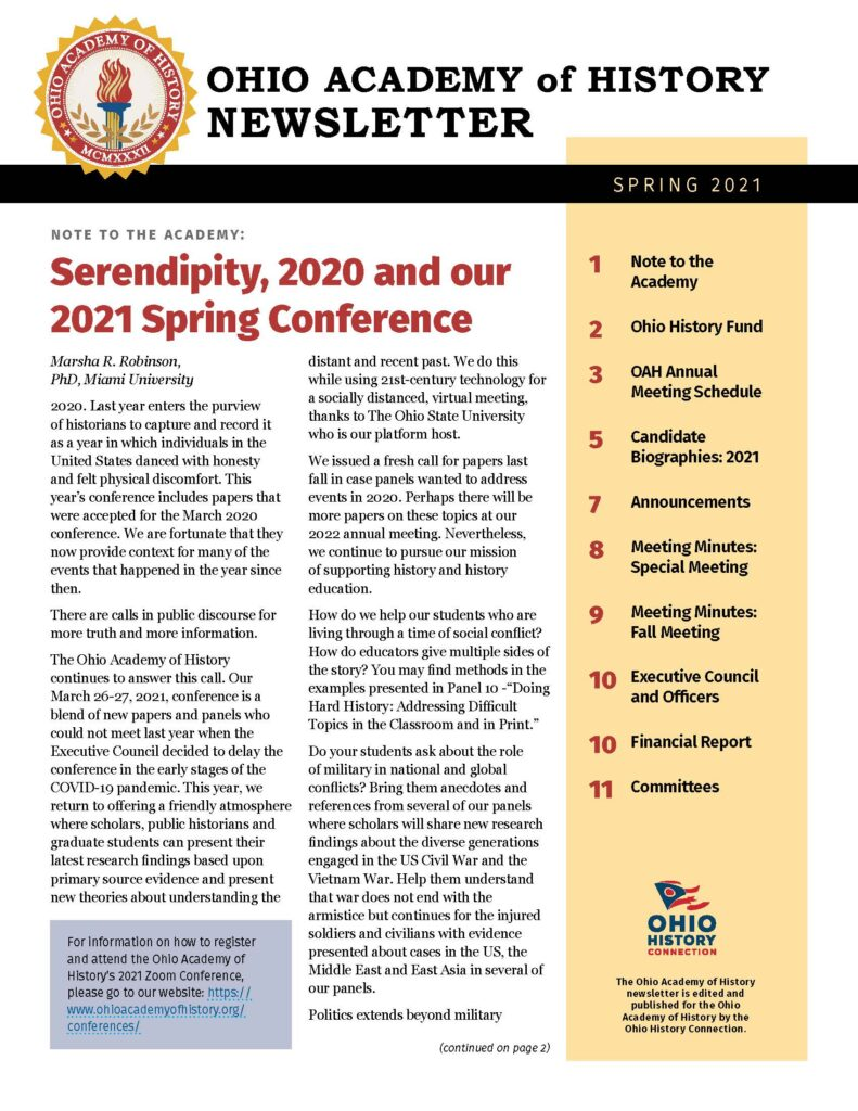 Image of the first page of the Spring 2021 newsletter